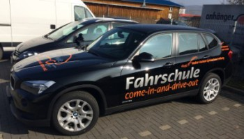 Fahrschule come in and drive out