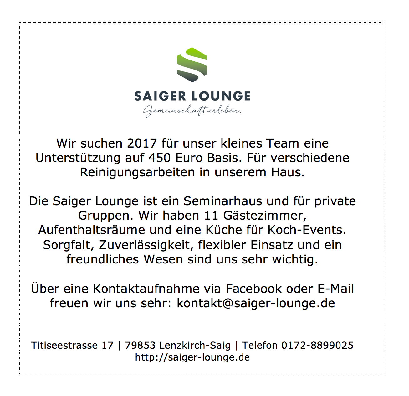 saiger lounge job
